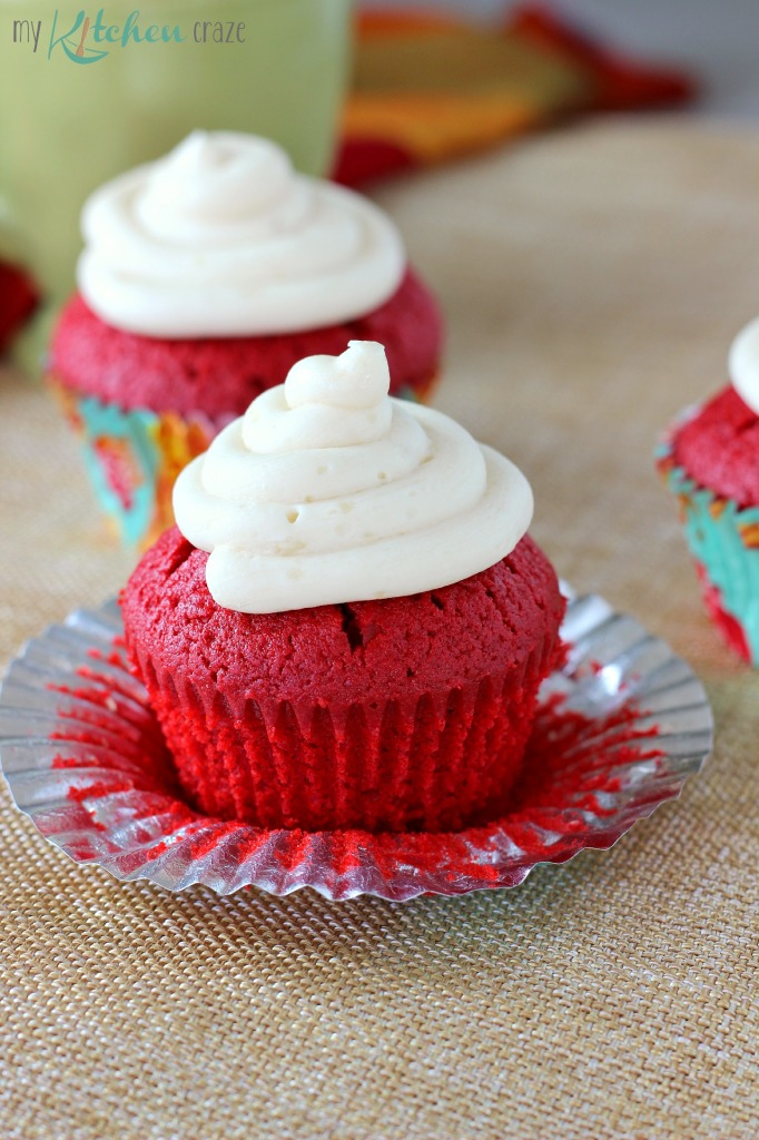 Red Velvet Cupcakes ~ mykitchencraze.com ~ Moist red velvet cupcakes topped with a creamy buttercream frosting. Delicious!