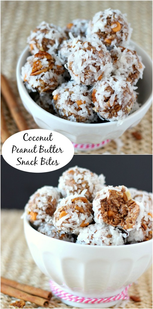 Coconut Peanut Butter Snack Bites ~ Need to grab and go? These snack bites are perfect for you. ~ www.mykitchencraze.com