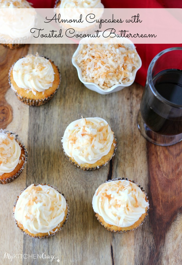 Almond Cupcakes with Toasted Coconut Buttercream ~ A delicious and moist cupcake with a hint of almond flavor, then topped with a creamy coconut buttercream. ~ www.mykitchencraze.com