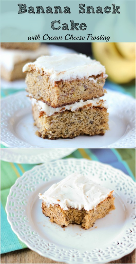 Banana Snack Cake with Cream Cheese Frosting ~ www.mykitchecraze.com