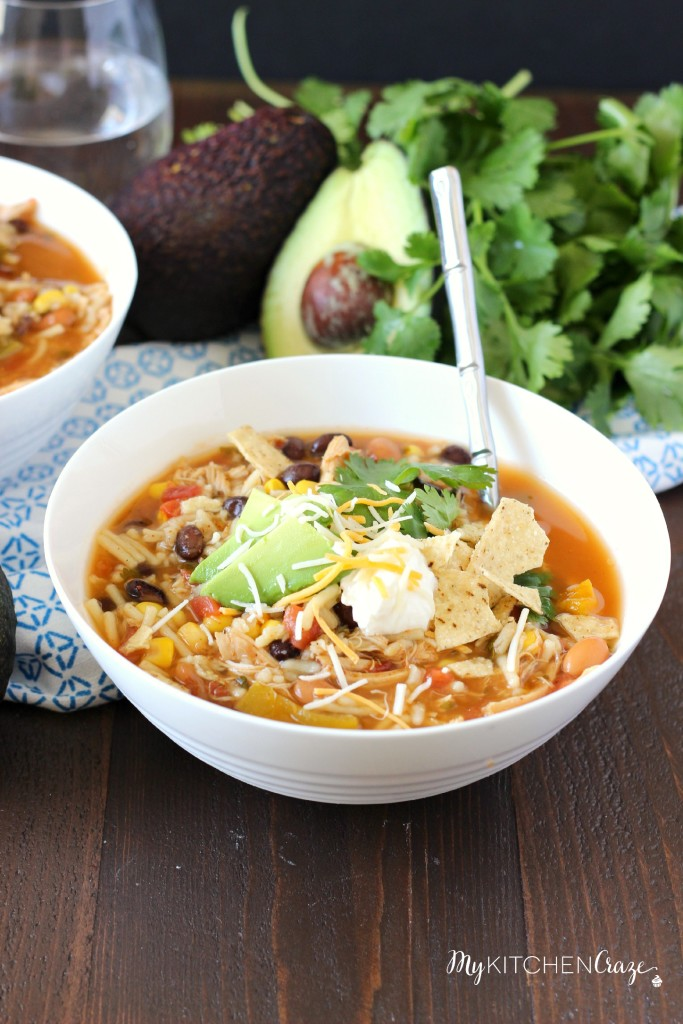 IMG_9057Taco Soup ~ mykitchencraze.com ~ A quick & easy soup recipe that has great flavor!