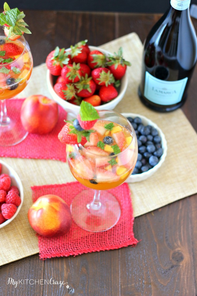 Sparkling Fruity Sangria ~ mykitchencraze.com ~ A fruity and bubbly Sangria thats perfect for any celebration!