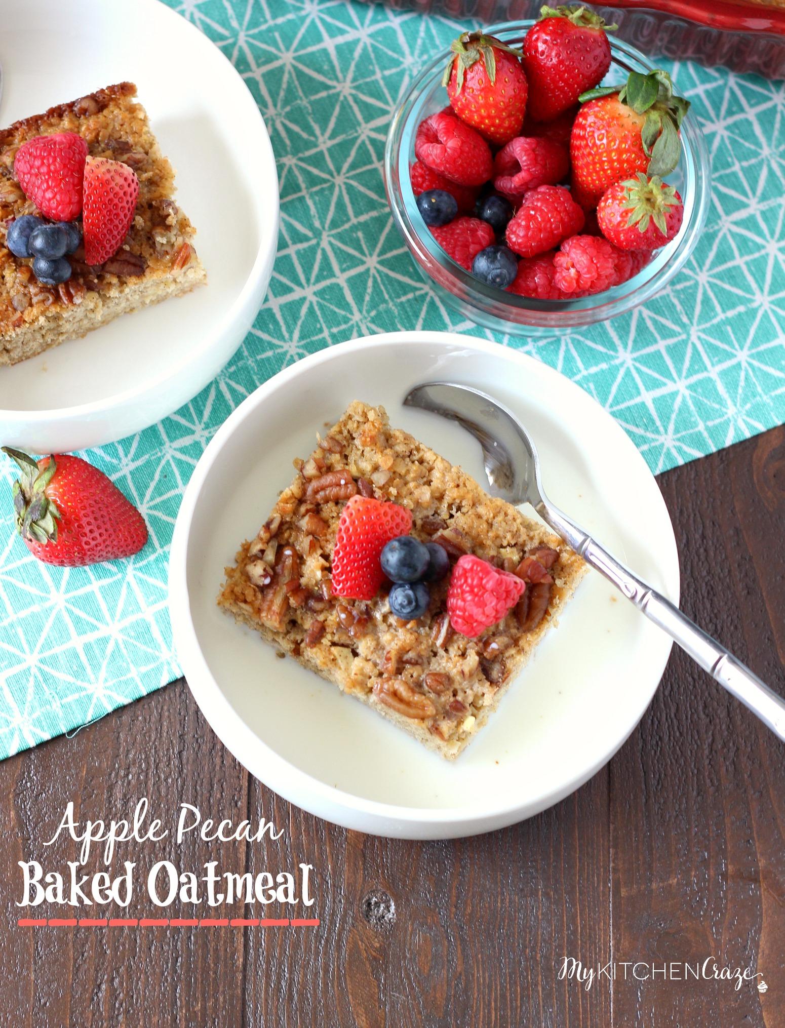 Apple Pecan Baked Oatmeal ~ mykitchencraze.com