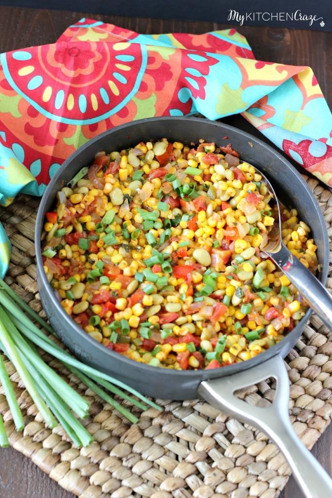 Succotash Ragout ~ mykitchencraze.com ~ A quick and easy side dish, that tastes delicious!