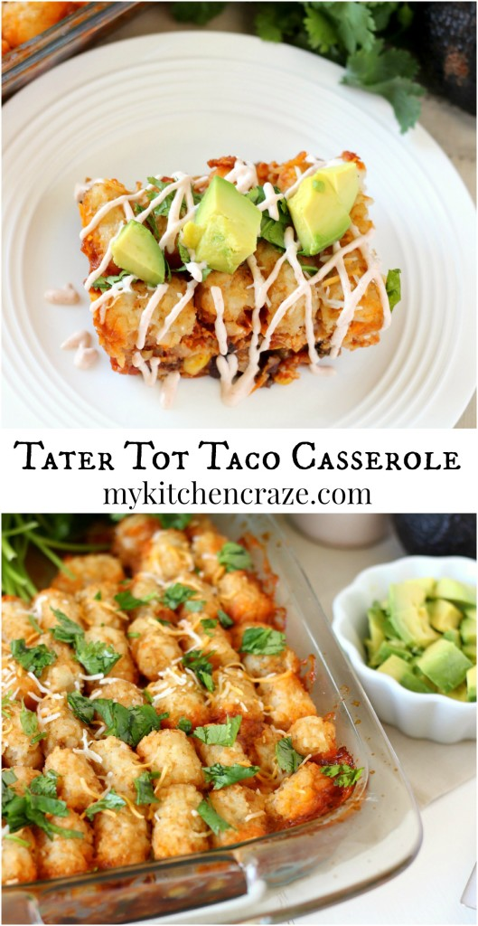 Tater Tot Taco Casserole ~ mykitchencraze.com ~ A delicious taco casserole that's layered with crispy tater tots. Perfect dinner!
