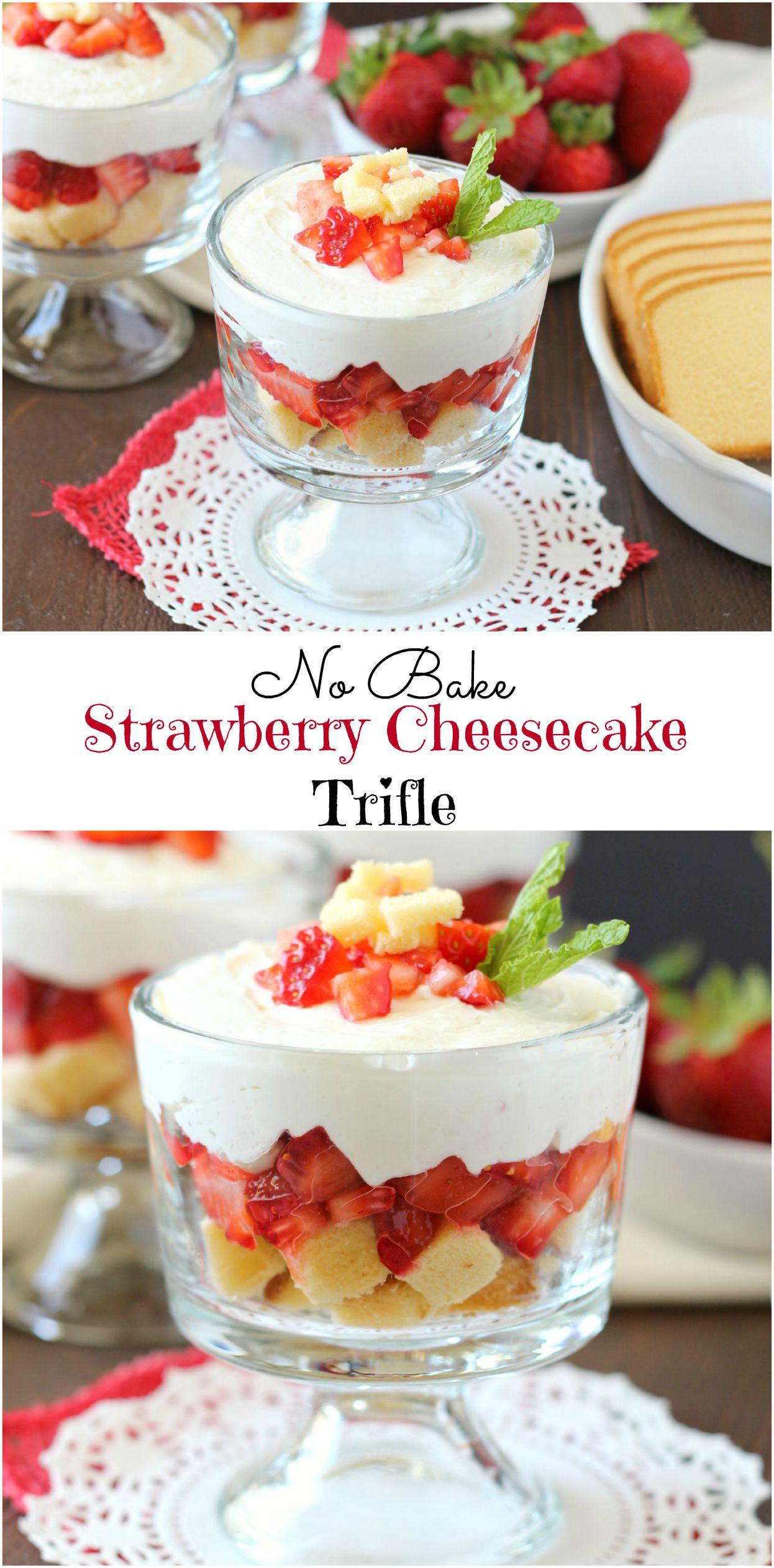 No Bake Strawberry Cheesecake Trifle ~ mykitchencraze.com