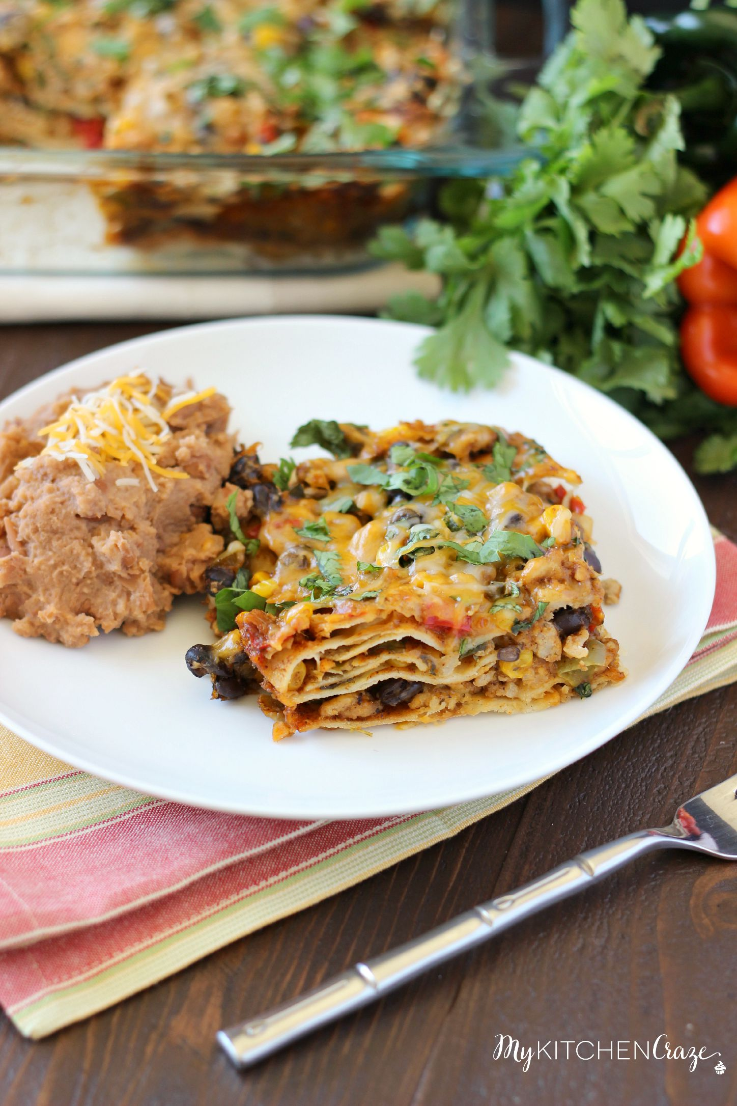 Tex-Mex Enchilada Casserole ~ mykitchencraze.com ~ This casserole is filled with corn, black beans, peppers and a delicious homemade enchilada sauce! Delicious!!