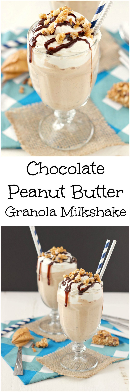 Chocolate Peanut Butter Granola Milkshake ~ mykitchencraze.com ~ #QuakerTime #ad