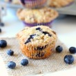Blueberry Crumb Muffins ~ mykitchencraze.com ~ Muffins are perfect for breakfast. These muffins are loaded with juicy blueberries then topped with a crumb topping.