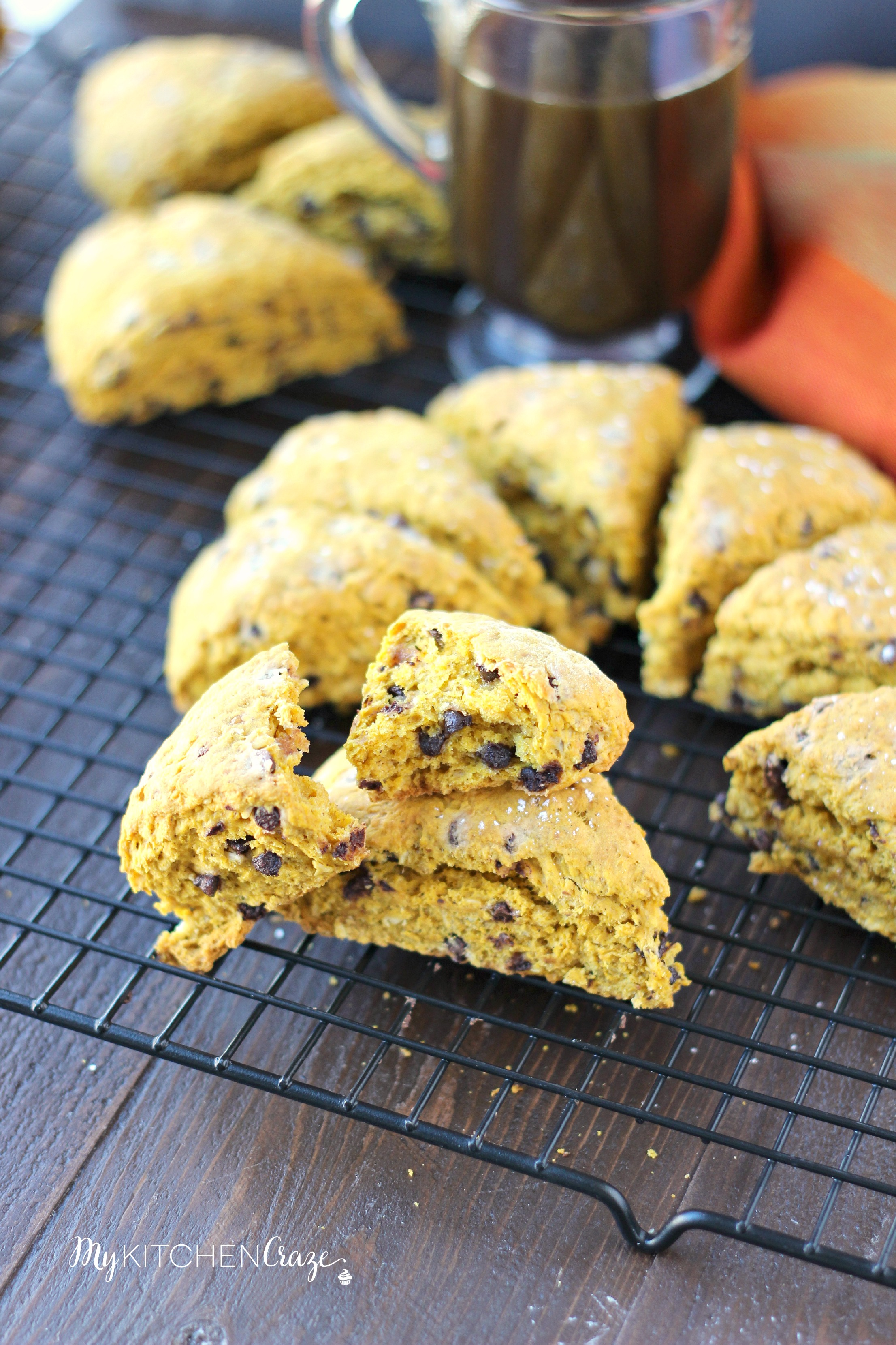 Pumpkin Oatmeal Chocolate Chip Scones ~ mykitchencraze.com ~ A perfect fall treat to go with your morning coffee/tea!