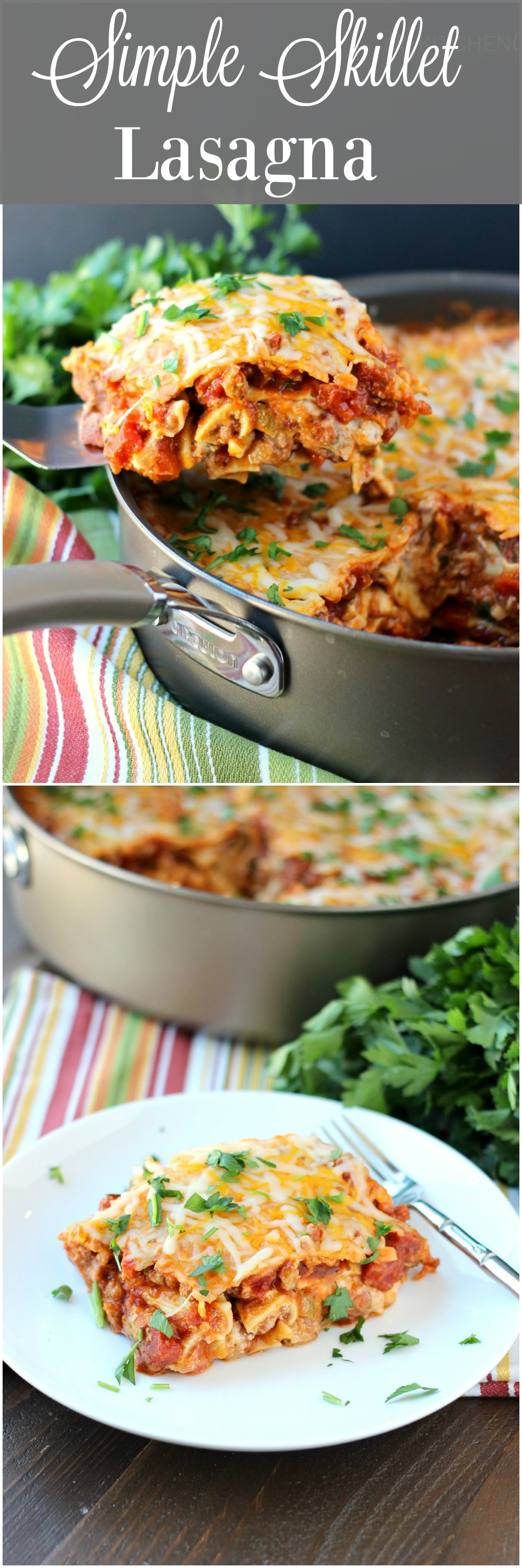 Simple Skillet Lasagna ~ mykitchencraze.com ~ Need an easy meal for dinner tonight? This skillet lasagna will be on your table in no time. Delicious! #NaturallyCheesy #ad