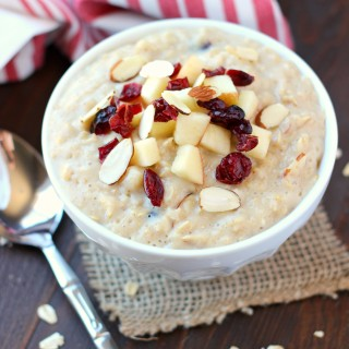 Cranberry Apple Oatmeal ~ mykitchencraze.com ~ Enjoy this creamy delicious oatmeal loaded with dried cranberries and apples. Breakfast never tasted so good.