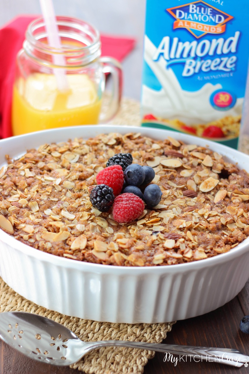 Almond Berry Baked Oatmeal ~ mykitchencraze.com ~ Perfect for those mornings where you want something hearty and delicious. Packed with mixed fruits and almonds. This is one yummy breakfast!