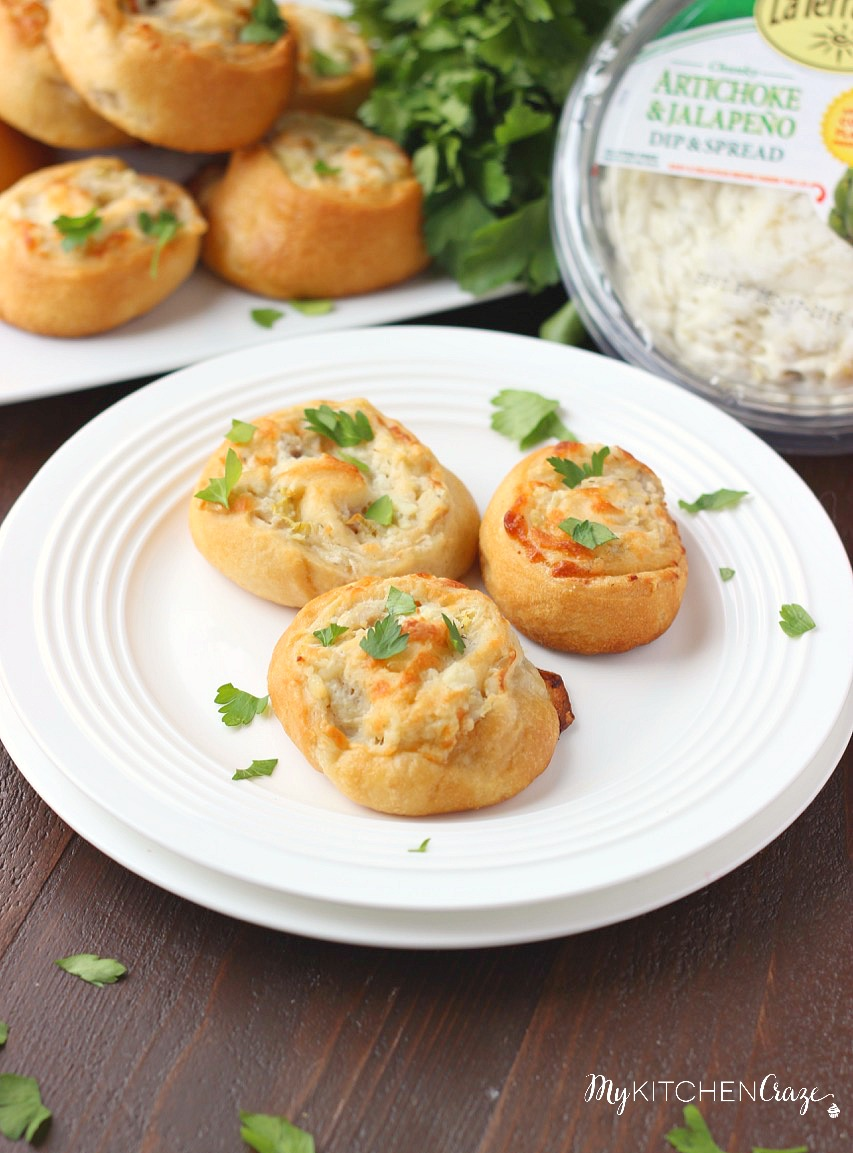 Artichoke Jalapeño Pinwheels ~ mykitchencraze.com ~ Perfect appetizer or snack for any occasion. Crescent dough loaded with chicken, cheese and La Terra Fina artichoke jalapeño spread.