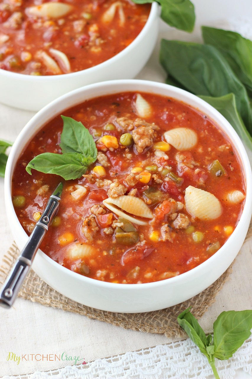 Italian Turkey Soup ~ mykitchencraze.com ~ A hearty and flavorful soup for those chilly nights. Loaded with noodles, cheese, vegetables and turkey. Yum!