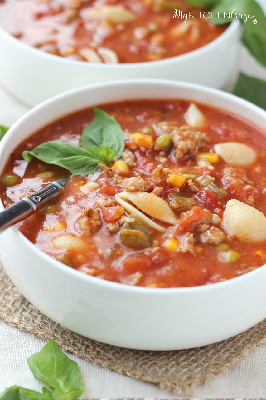 Italian Turkey Soup ~ mykitchencraze.com ~ A hearty and flavorful soup ...