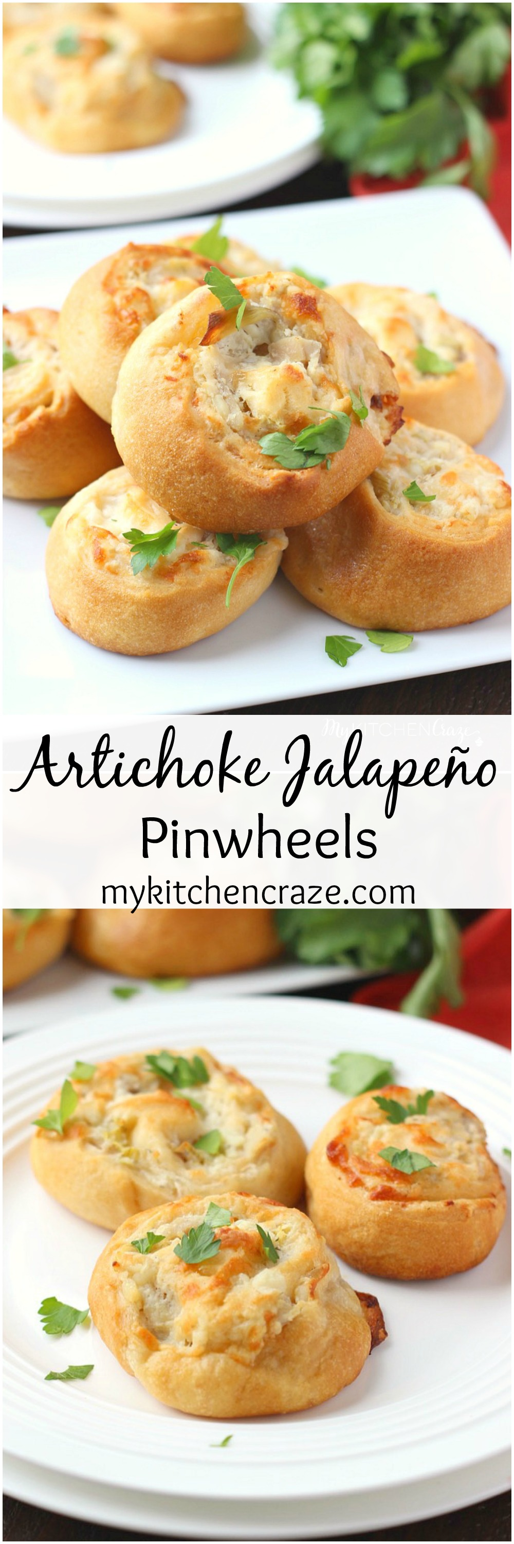Artichoke Jalapeño Pinwheels ~ mykitchencraze.com ~ Perfect appetizer or snack for any occasion. Crescent dough loaded with chicken, cheese and La Terra Fina artichoke jalapeño spread. @LaTerraFina