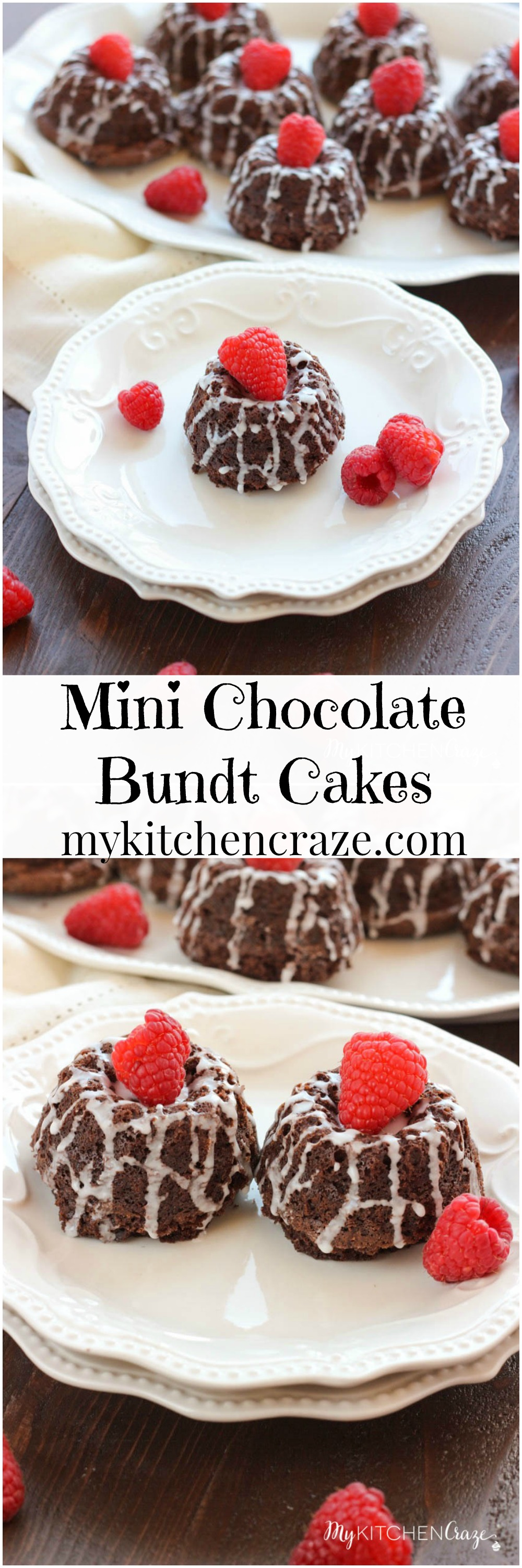 Mini Chocolate Bundt Cakes ~ mykitchencraze.com ~ Moist chocolate cake topped off with a vanilla glaze and raspberry. Perfect for a special gathering or any occasion.
