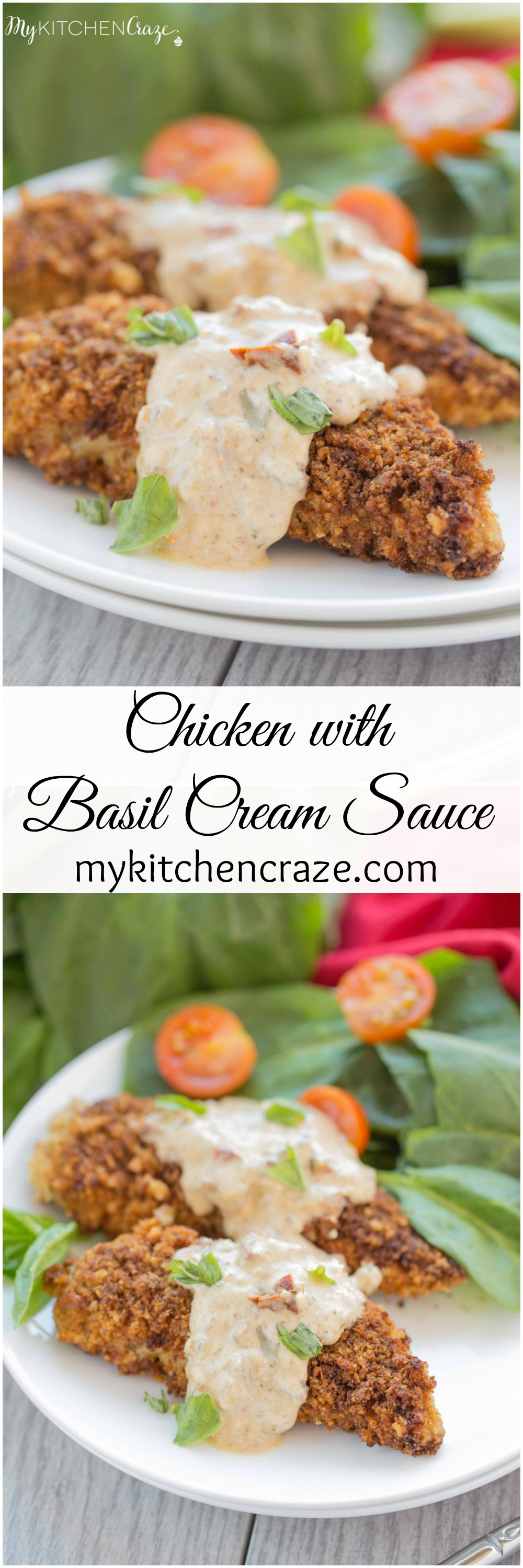 Chicken with Basil Cream Sauce ~ mykitchencraze.com ~ Sick of the same old chicken? Then you need to try this delicious Chicken with Basil Cream Sauce. You'll never go back to plain chicken again.