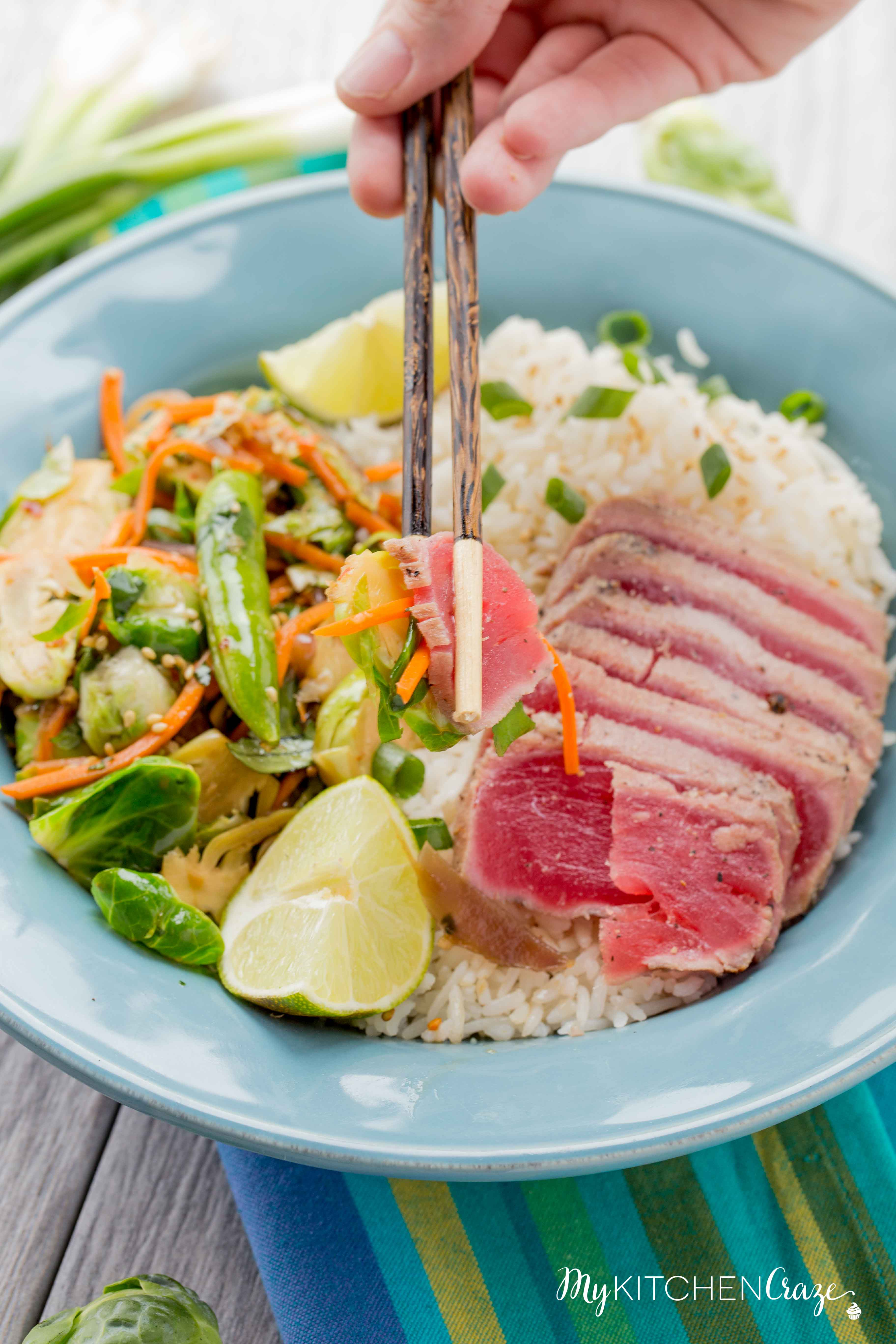 Ahi Tuna Rice Bowls ~ mykitchencraze.com ~ Enjoy these delicious Ahi Tuna Rice Bowls for dinner. These rice bowls are loaded with sautéed vegetables and fresh quality Ahi Tuna! Have a healthy delicious meal on your table within 30 minutes!