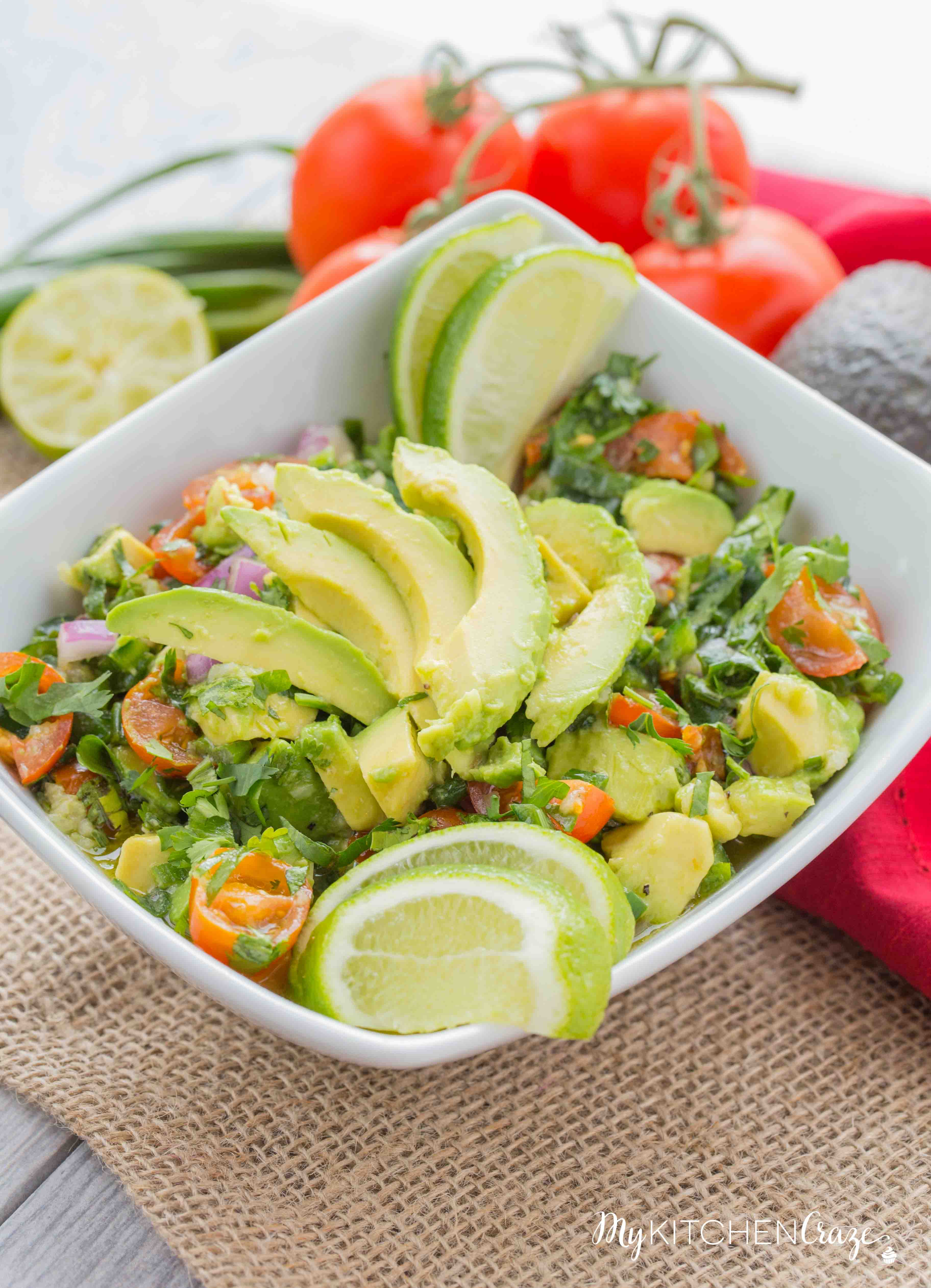 Avocado Salad ~ mykitchencraze.com ~ Enjoy this easy and refreshing Avocado Salad as a side dish or a main entree. Either way it's easy to make and tastes delicious!