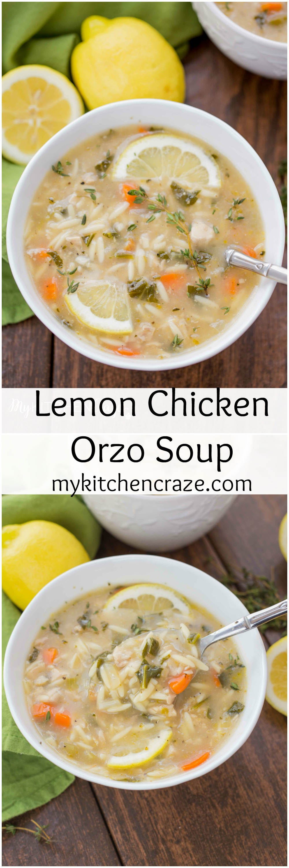 Lemon Orzo Soup ~ mykitchencraze.com ~ Enjoy this delicious soup any time of the year. Perfect when you're under the weather or just craving a light refreshing soup!