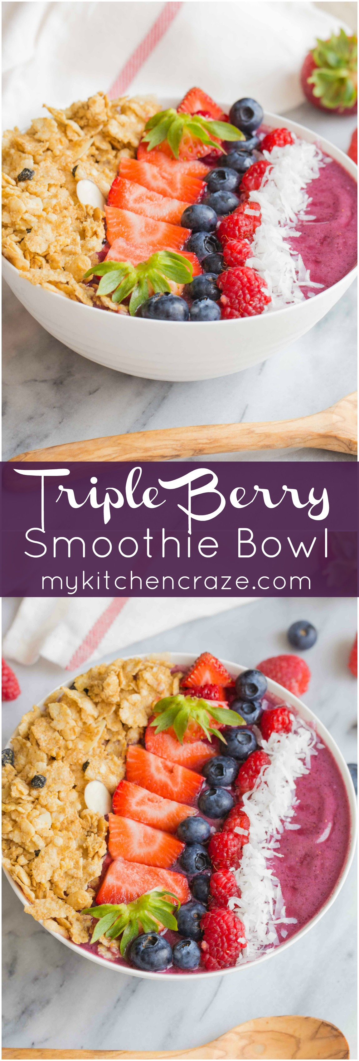 Triple Berry Smoothie Bowl ~ mykitchencraze.com ~ #CerealAnytime #ad
