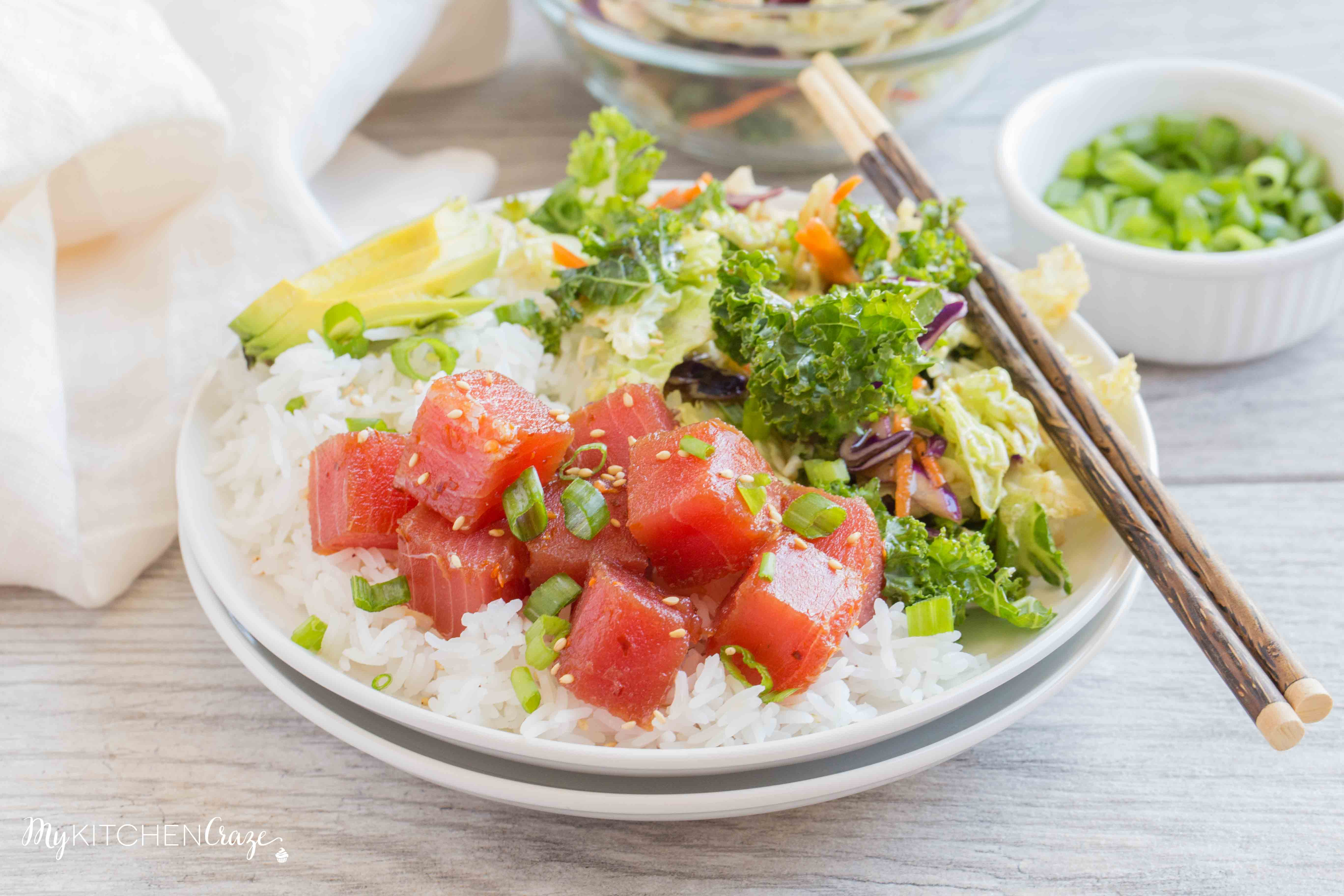 Ahi Tuna Poke Bowls ~ mykitchencraze.com ~ Ahi Tuna Poke Bowls are refreshing and a delicious recipe This easy recipe is great for parties or to enjoy as a family meal.