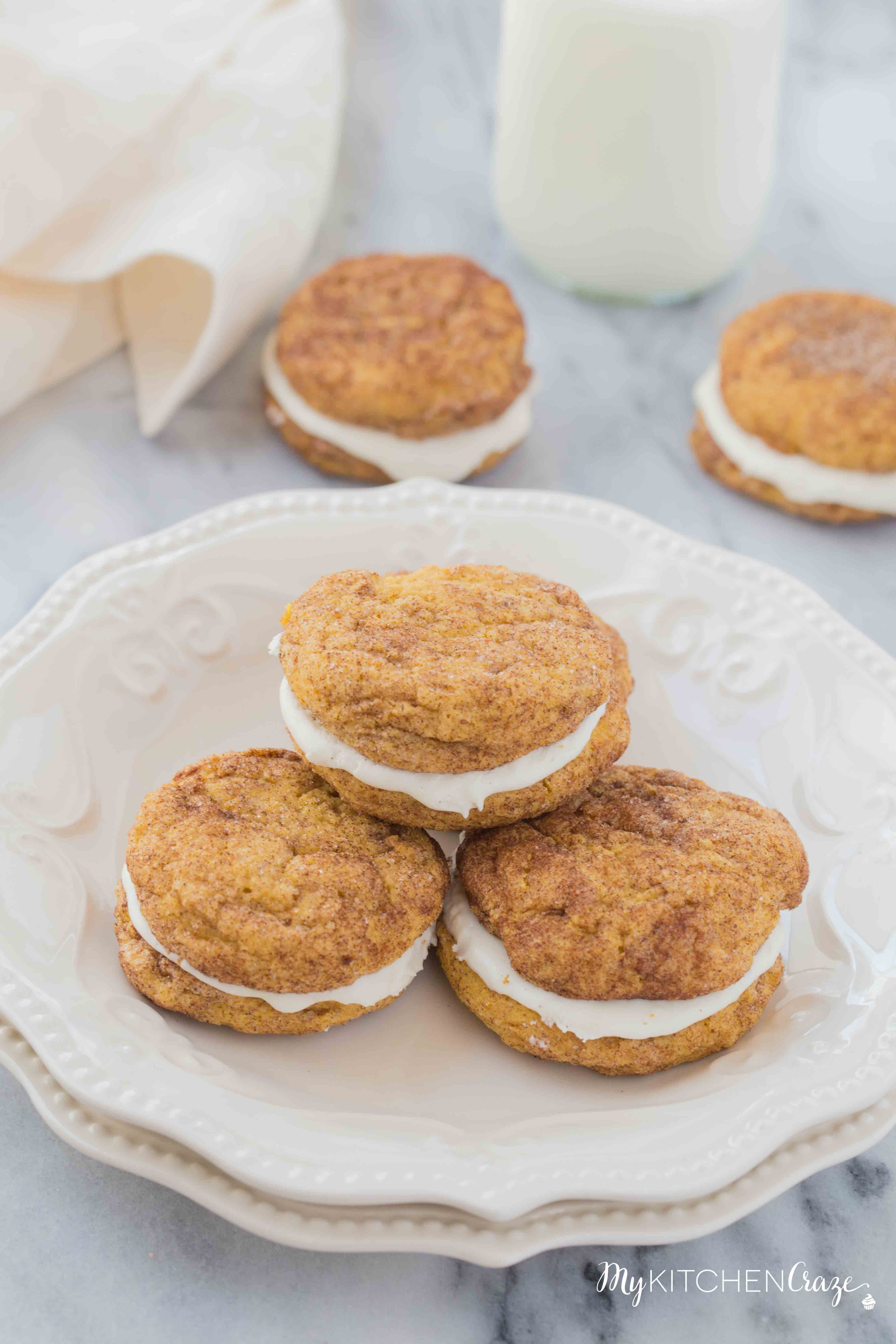 Pumpkin Snickerdoodle Whoopie Pies ~ Moist, delicious cookies filled with marshmallow cream! Perfect for this Fall season!