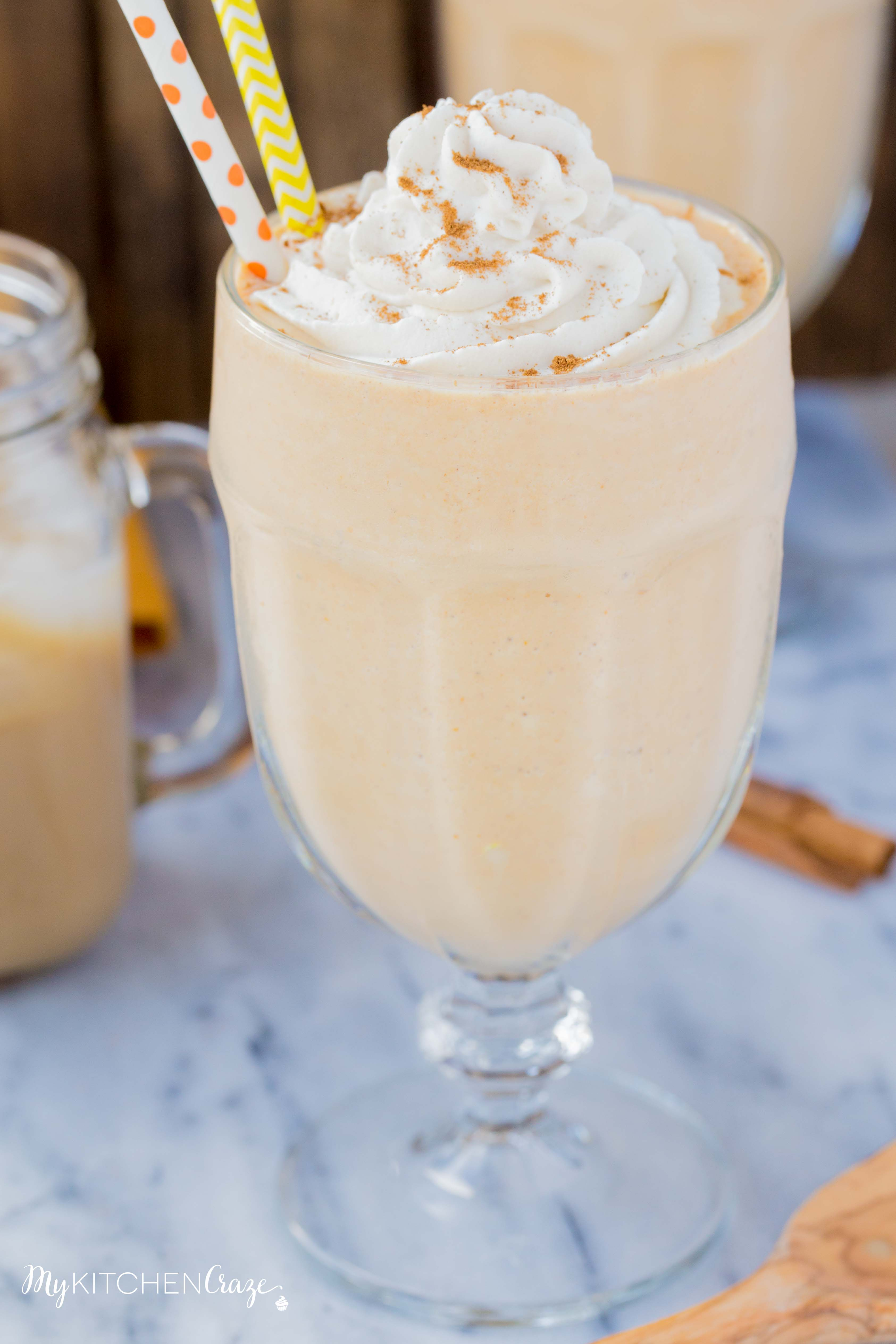 Pumpkin Spice Milkshake ~ mykitchencraze.com ~ Start your Fall season off right and make this delicious Pumpkin Spice Milkshake. Filled with all the pumpkin flavors, it's like a piece of pumpkin pie in a drink. Yum!