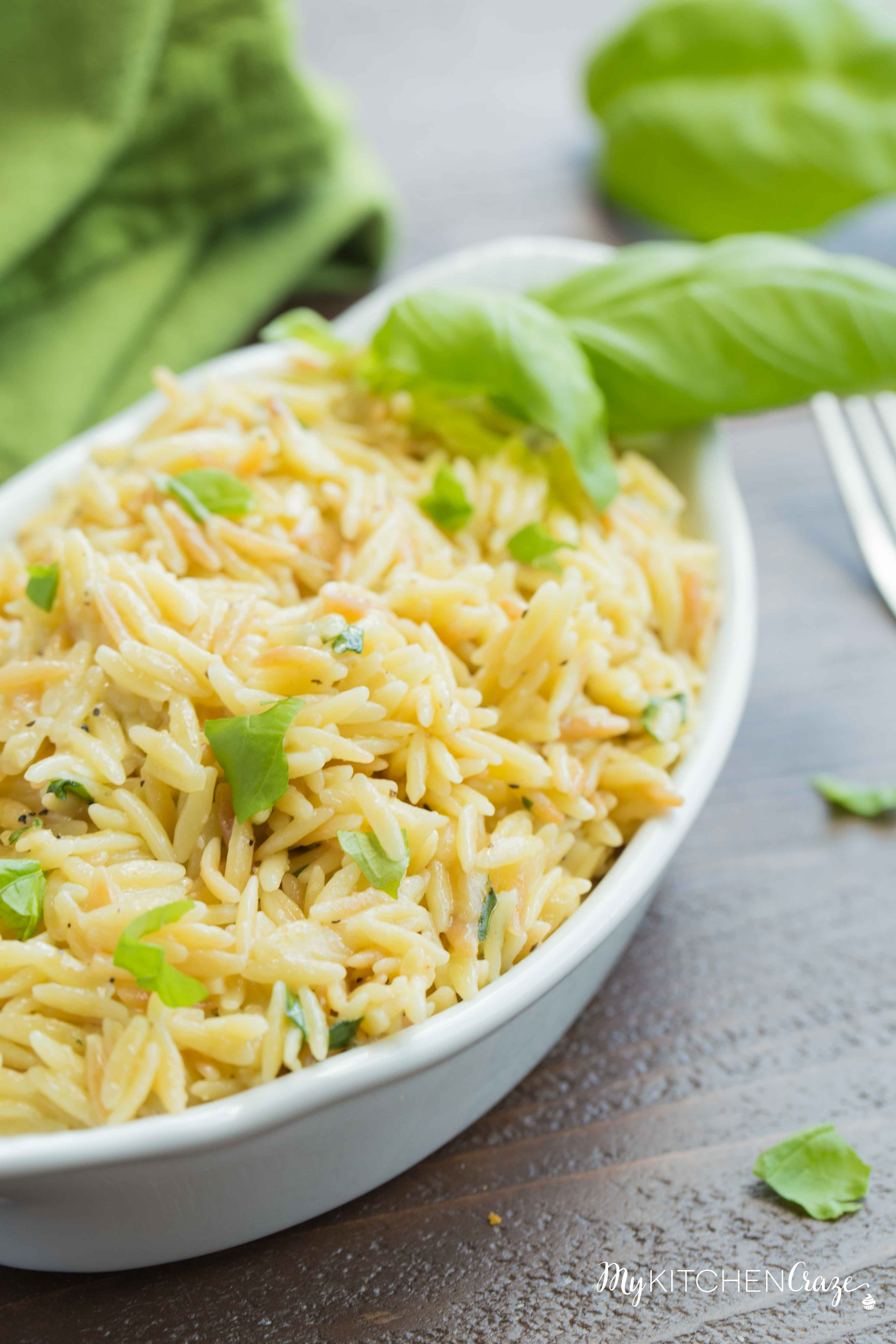 Cheesy Basil Orzo ~ Only 6 ingredients are all you need to make this fresh pasta side recipe. The cheese and basil brighten the dish making it perfect for any main.