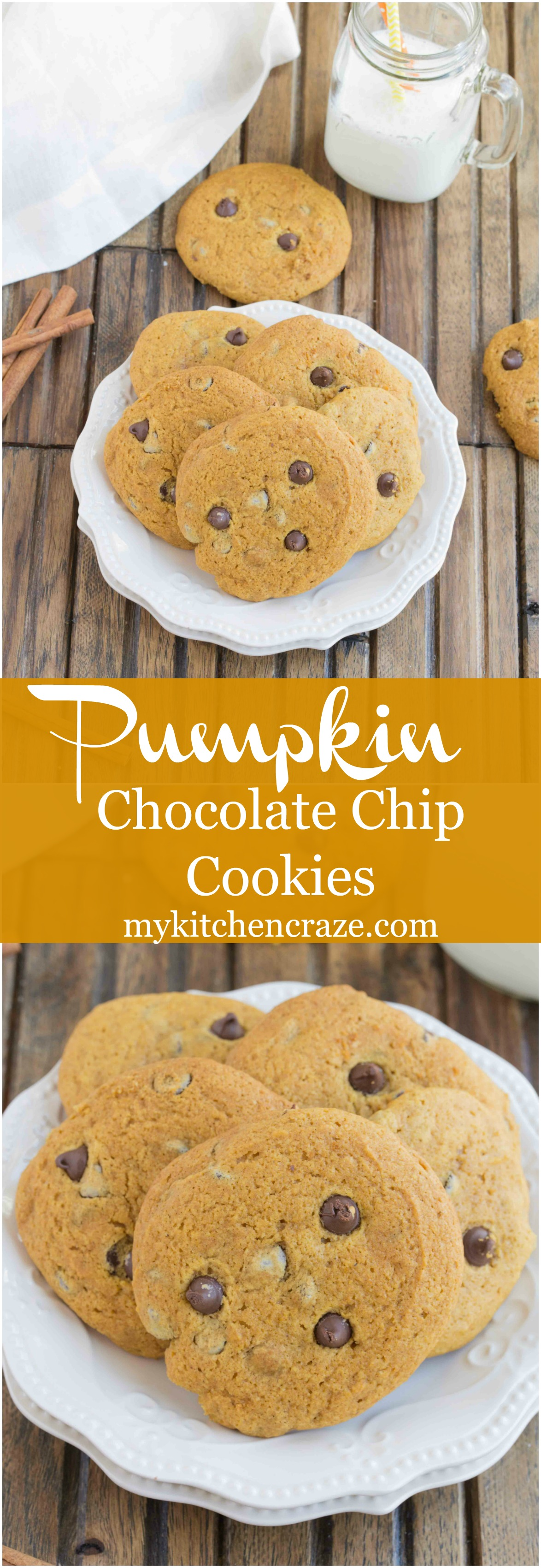 Pumpkin Chocolate Chip Cookies ~ Delicious pumpkin cookies filled with ...