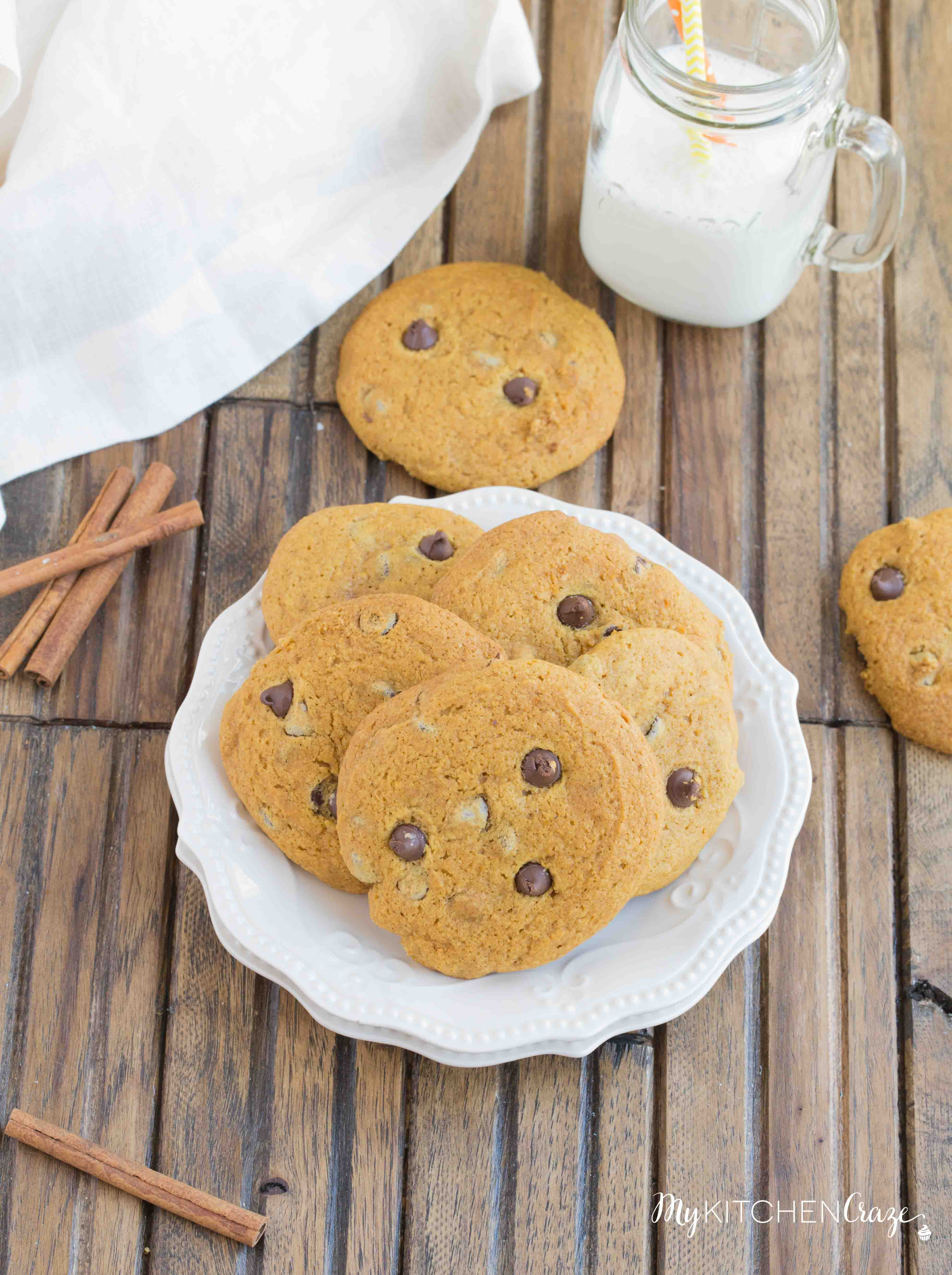 Pumpkin Chocolate Chip Cookies ~ Delicious pumpkin cookies filled with chocolate chips. These cookies are moist and perfect for the season!