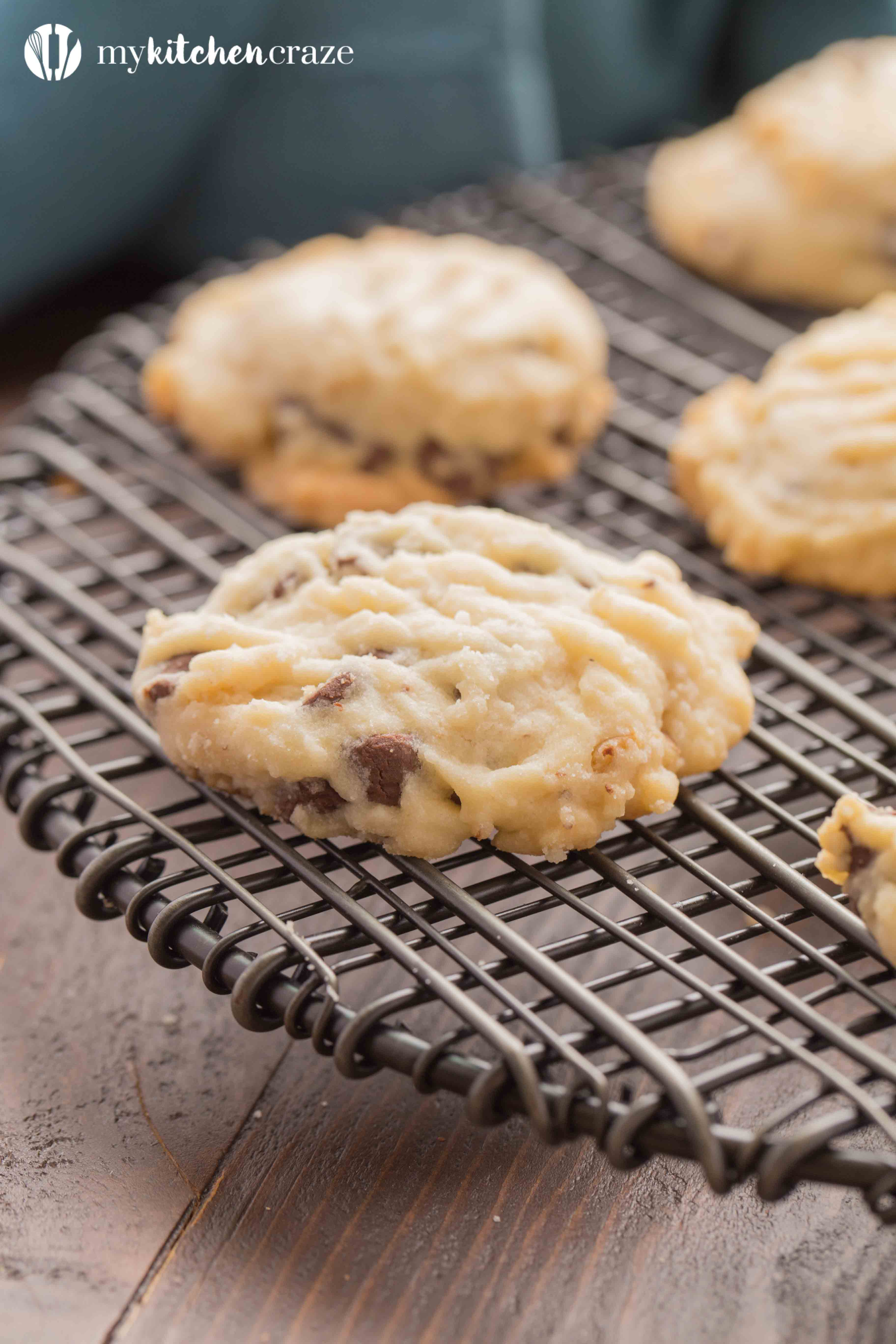 Chocolate Chip Tea Cake Cookies ~ Grab a cup of coffee, your favorite movie and some of these Chocolate Chip Tea Cake Cookies!! They're flakey with the perfect hint of pecans & chocolate chips. You're going to love them!