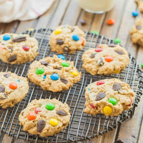 Monster Cookies are everything you want in a cookie and more. These cookies are loaded with bright colorful chocolate candies, chocolate chips, peanut butter and oats. Delicious!