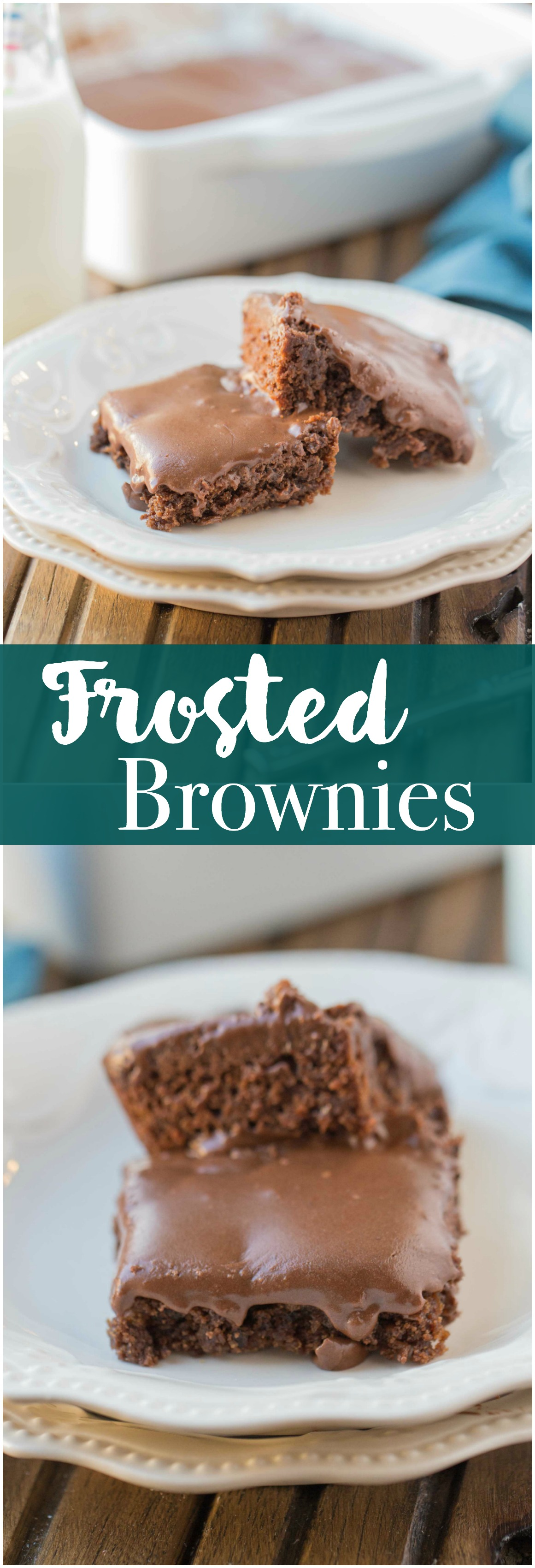 Frosted Brownies are a must have recipe! Brownies that are moist, delicious and the frosting takes these brownies to a whole new level. Grab that glass of milk because you'll want it with a slice of these yummy Frosted Brownies!