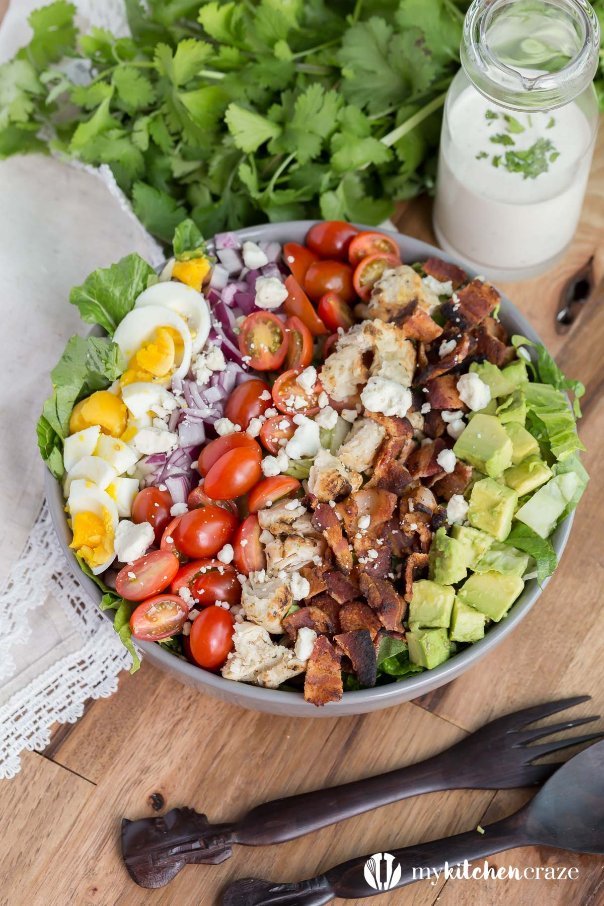 Cobb Salad ~ Crunchy veggies topped with blue cheese crumbles and your favorite dressing. This is one salad that you won't have a problem eating and enjoying!