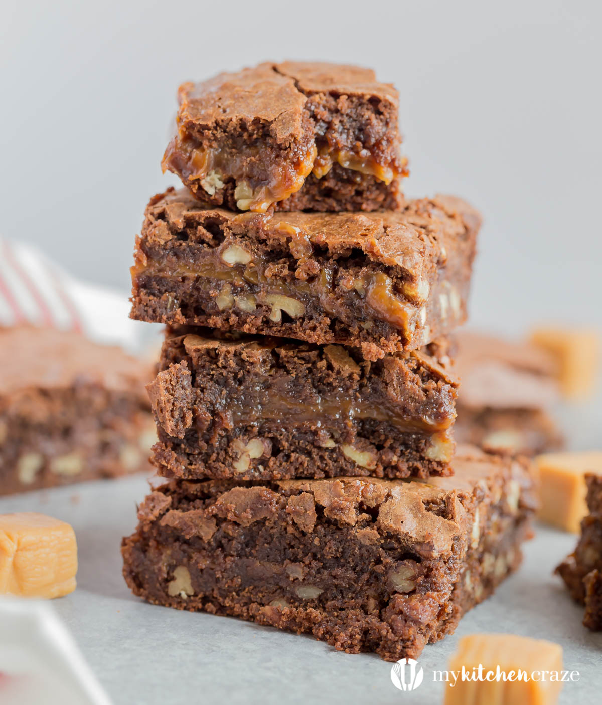 Caramel Pecan Brownies are soft, chewy, chocolate-y with caramel and pecans. These take regular brownies to the next level!