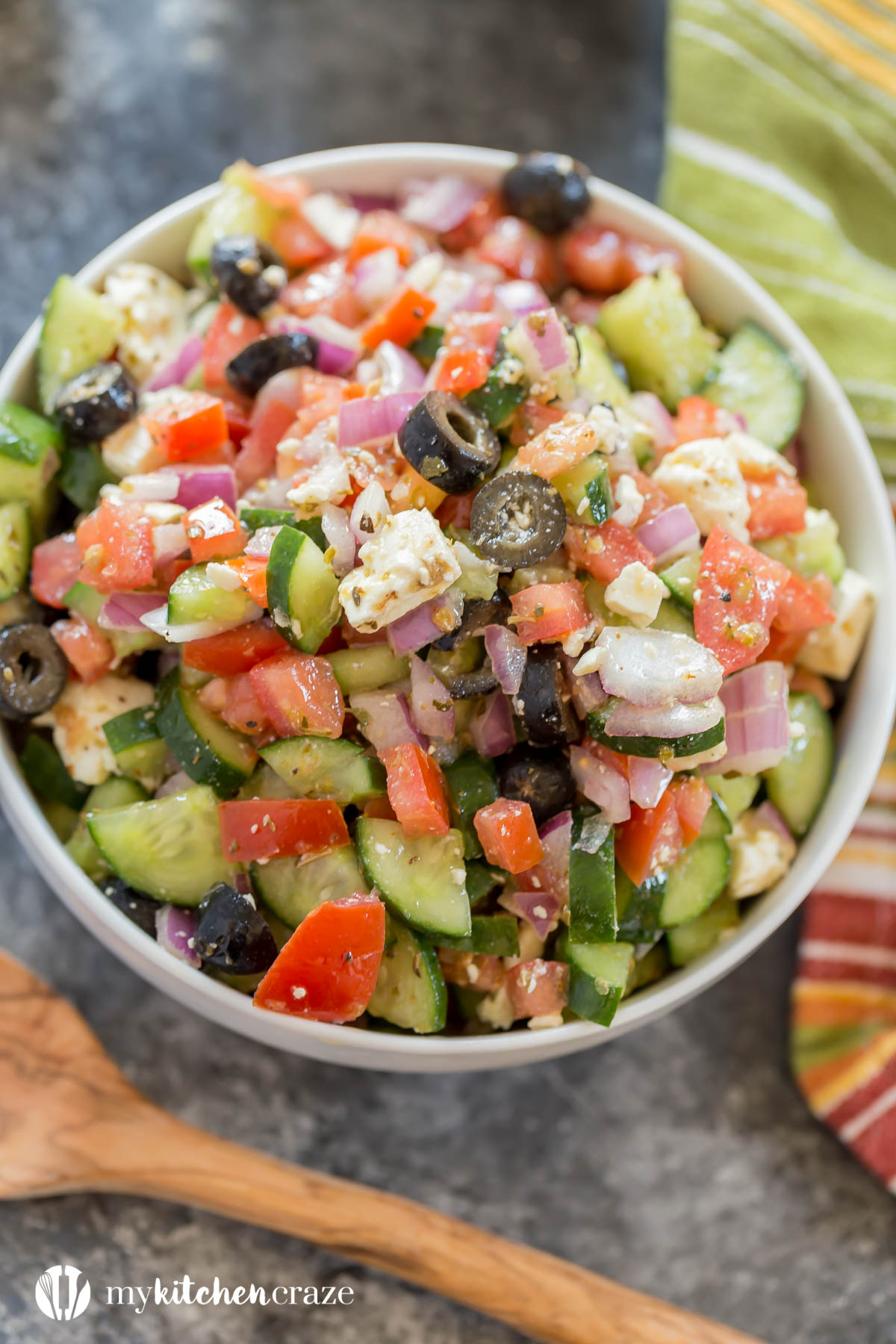 Greek Salad is perfect with any main dish. Throw it together and have a delicious side within minutes!