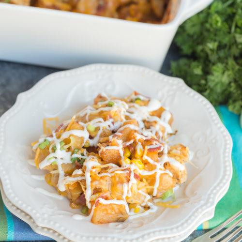 This flavorful Buffalo & Chicken Potato Casserole comes together easily and is always a family favorite dinner recipe!