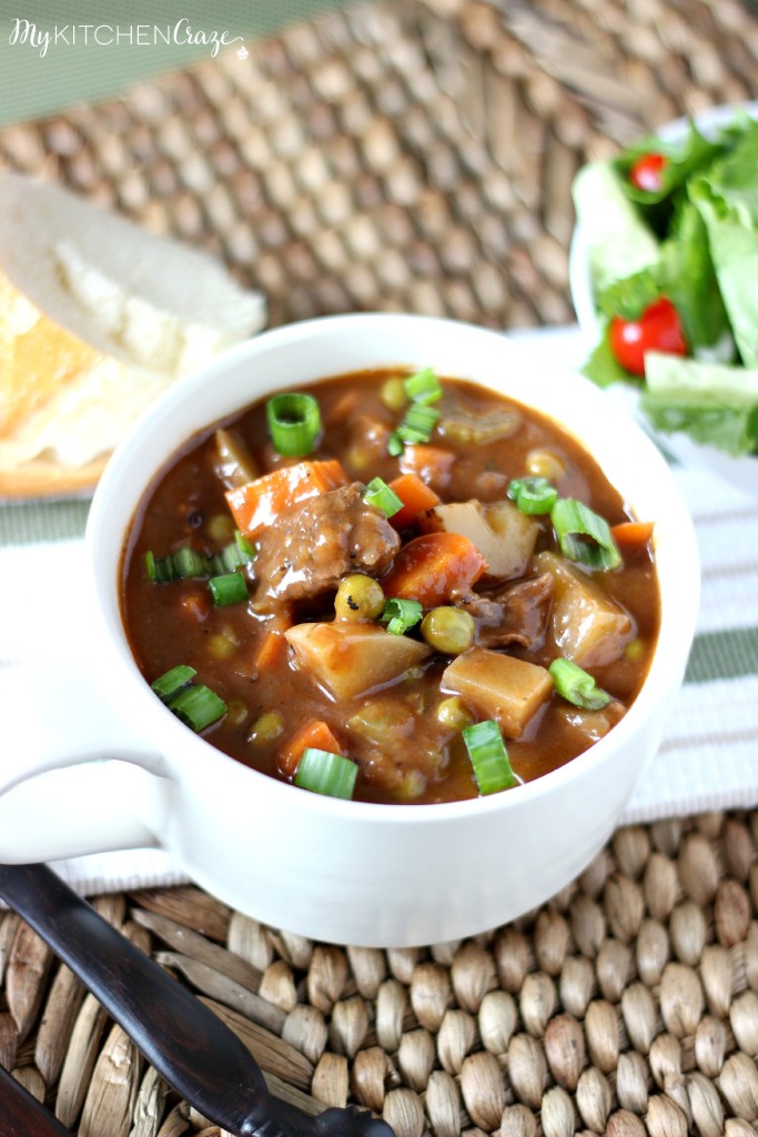 Hearty Beef Stew is a delicious and tasty stew. Perfect for those cold chilly nights. ~ www.mykitchencraze.com