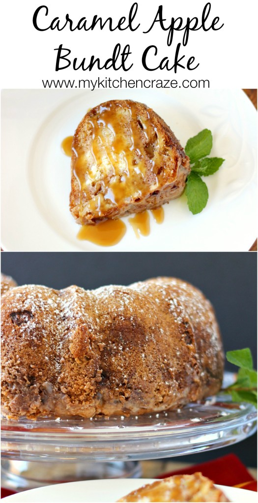 Caramel Apple Bundt Cake ~ Apples and cream cheese swirled through out a moist cake, then topped off with a homemade glaze and caramel sauce to make this cake out of this world delicious! ~ www.mykitchencraze.com