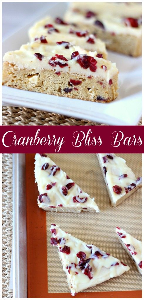 Cranberry Bliss Bars ~ A soft blondie bar with white chocolates, cranberries and covered in cream cheese frosting. Perfect treat for any occasion! ~ www.mykitchencraze.com