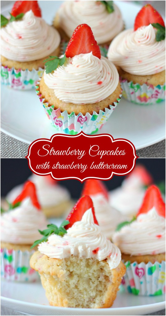 Strawberry Cupcakes with Strawberry Buttercream ~ A fluffy and moist cupcake, that's perfect for your someone special ~ www.mykitchencraze.com