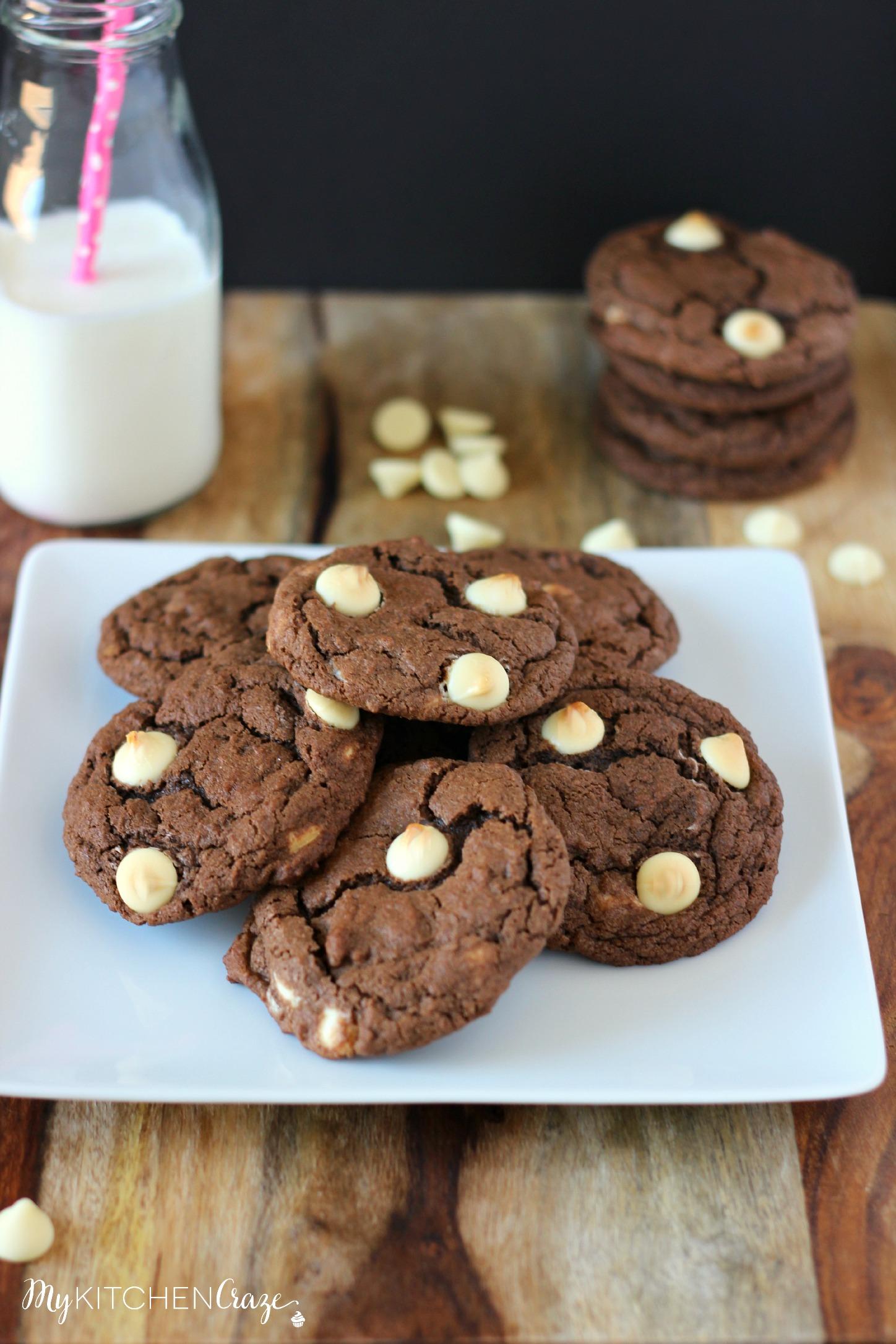 Chocolate White Chocolate Chip Cookies - My Kitchen Craze