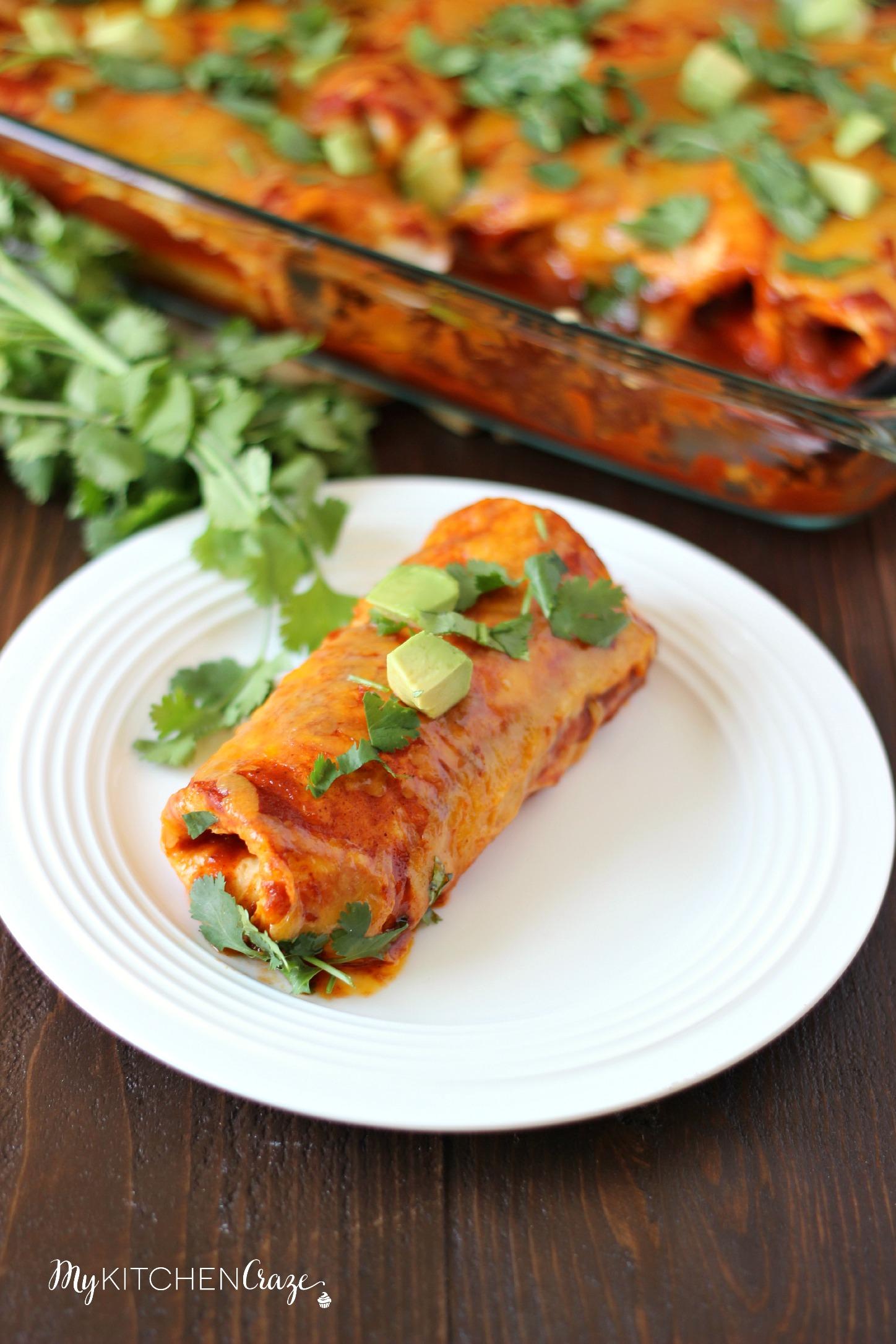 Chicken & Sweet Potato Enchiladas - My Kitchen Craze