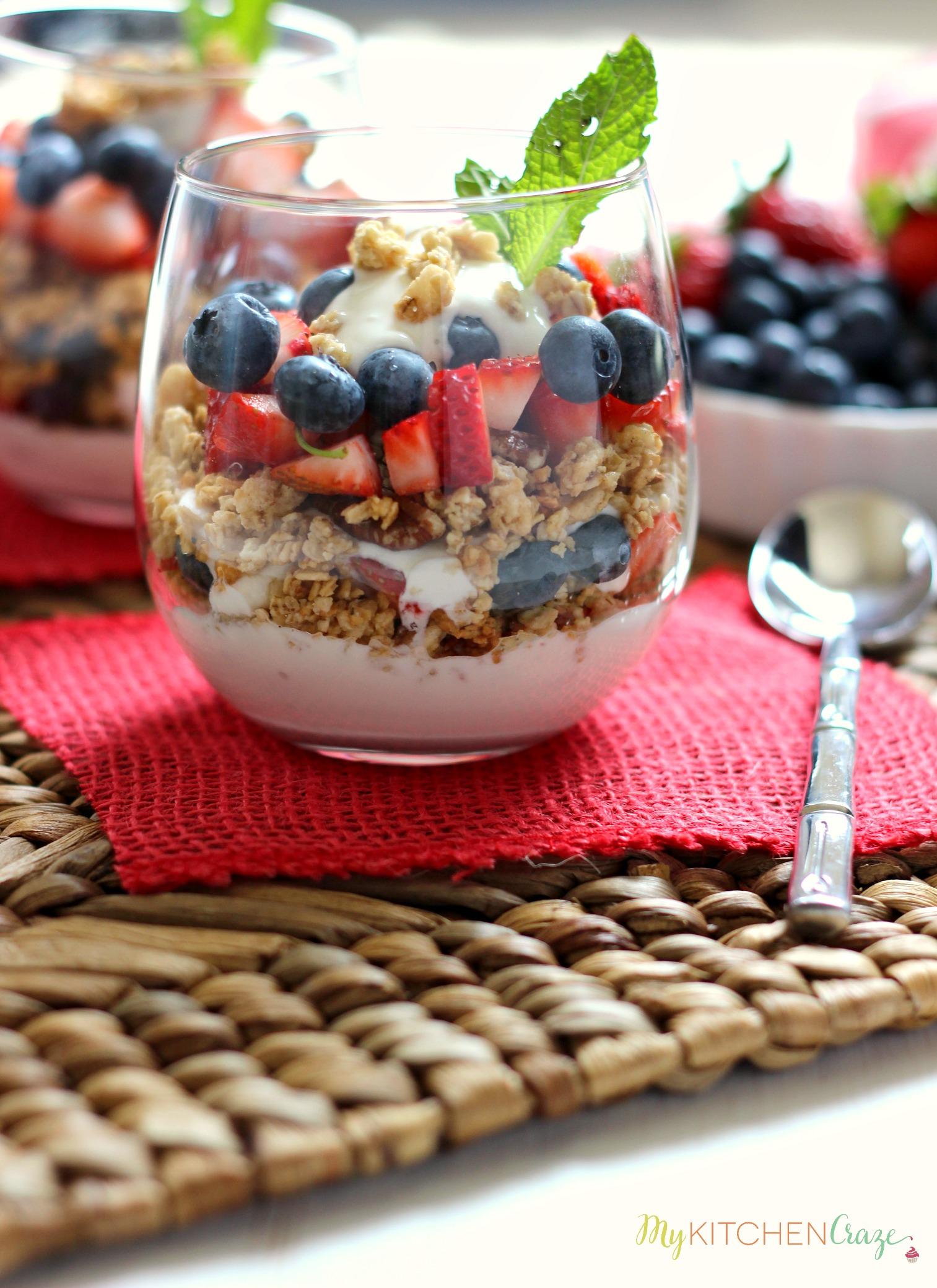 Berry Fruit and Yogurt Granola Parfait - My Kitchen Craze