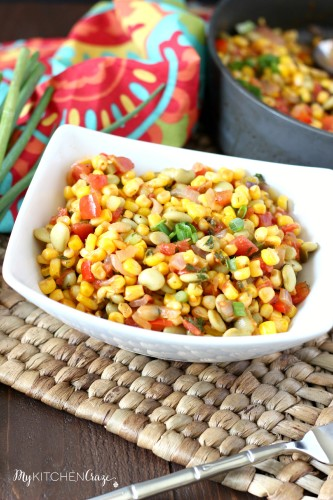 Succotash Ragout ~ mykitchencraze.com ~ A quick and easy side dish, that tastes delicious!