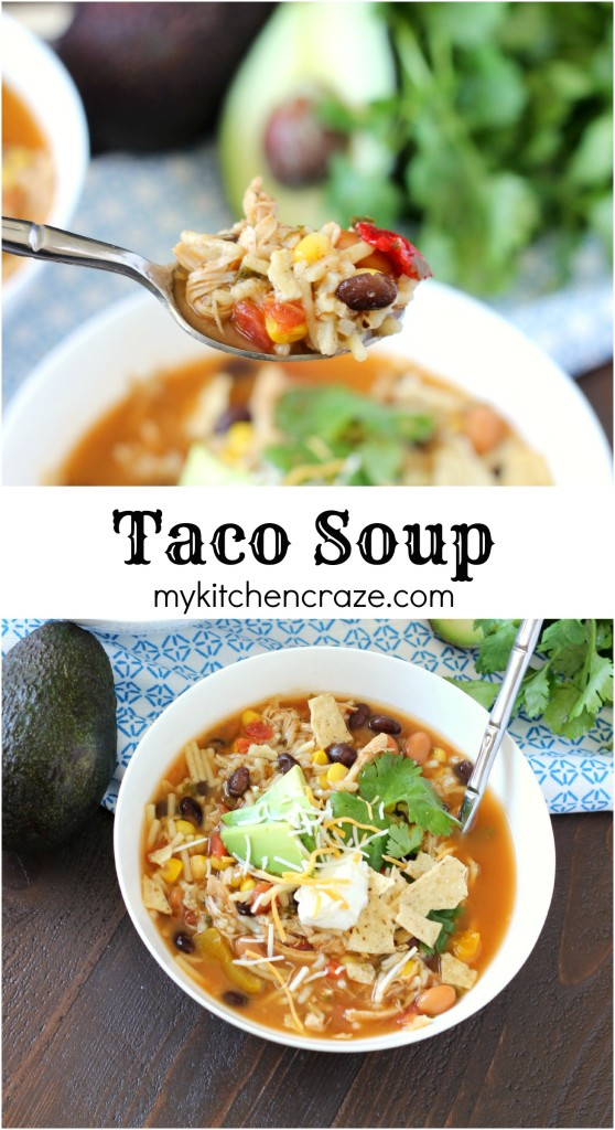 Taco Soup ~ mykitchencraze.com ~ A quick & easy soup recipe that has great flavor!