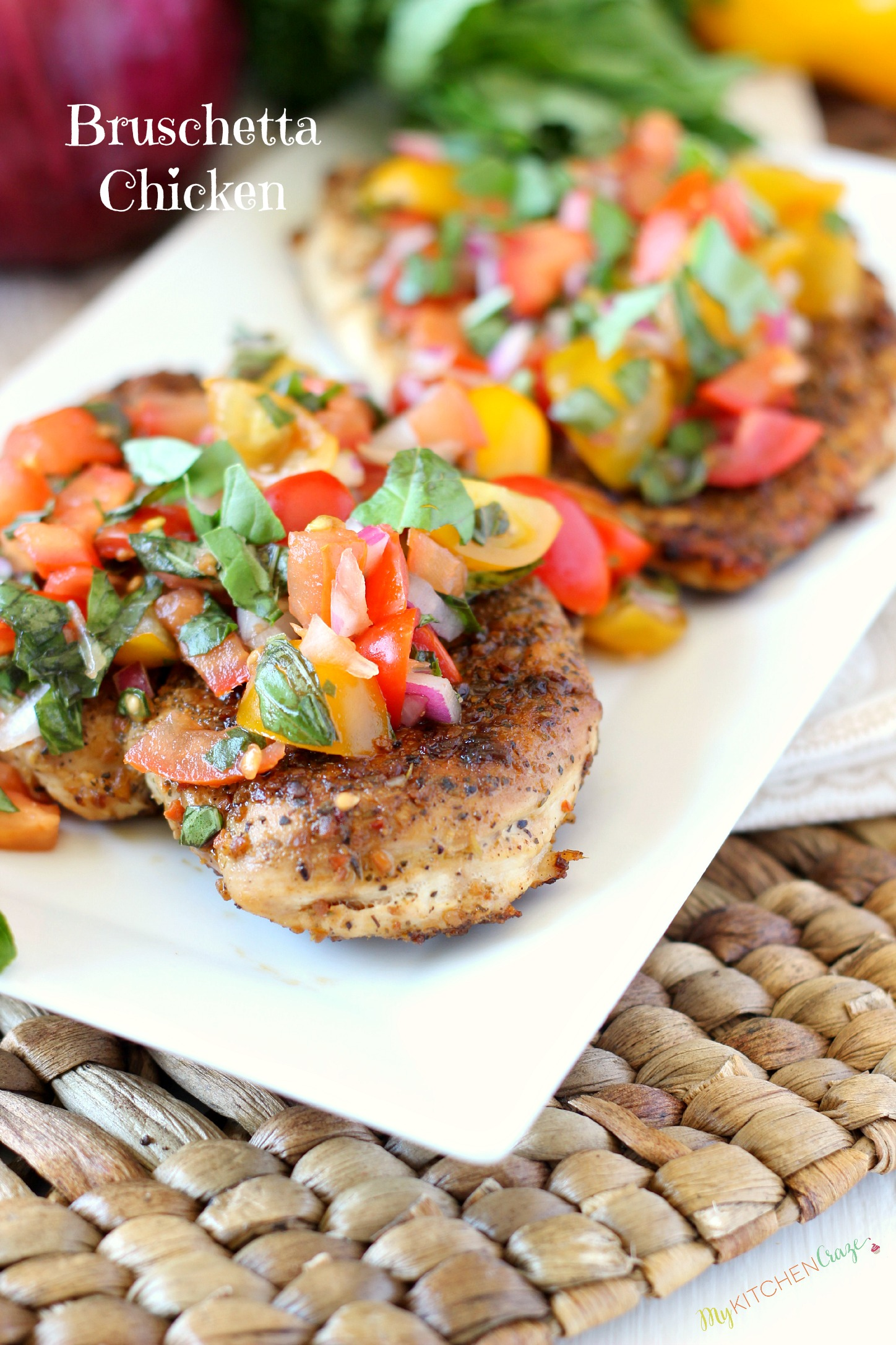 Bruschetta Chicken ~ mykitchencraze.com ~ A delicious and flavorful meal that the whole family will love.